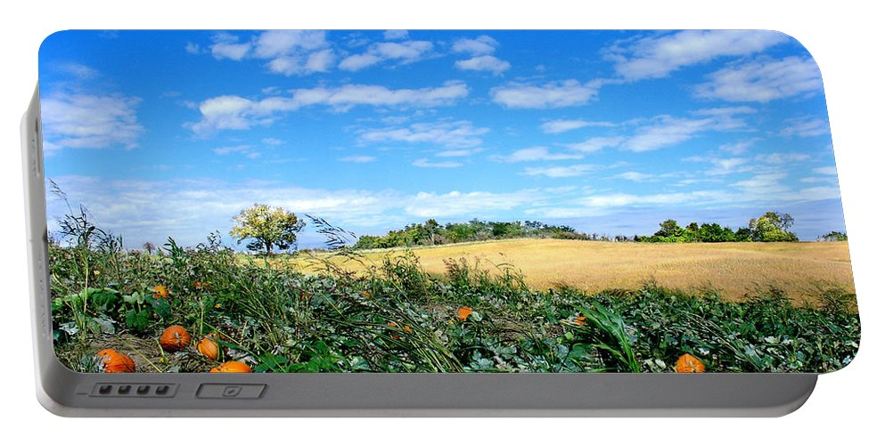 Landscape Portable Battery Charger featuring the photograph Pumpkin Patch by Steve Karol
