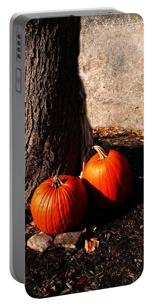 Autumn Portable Battery Charger featuring the digital art Pumpkin Time by Joan Minchak