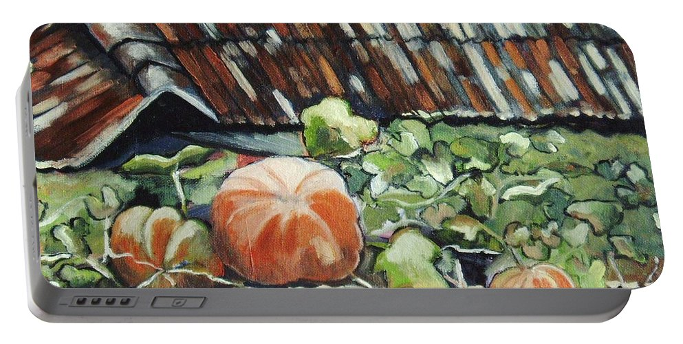 Pumpkin Paintings Portable Battery Charger featuring the painting Pumpkins On Roof by Seon-Jeong Kim