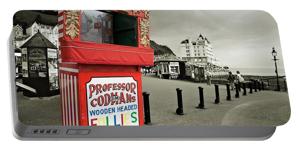 Punch And Judy Portable Battery Charger featuring the photograph Punch And Judy Theatre On Llandudno Promenade by Mal Bray