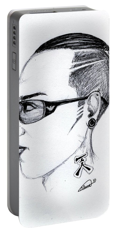 Portrait Portable Battery Charger featuring the drawing Punk Imaginative Portrait Drawing by Alban Dizdari