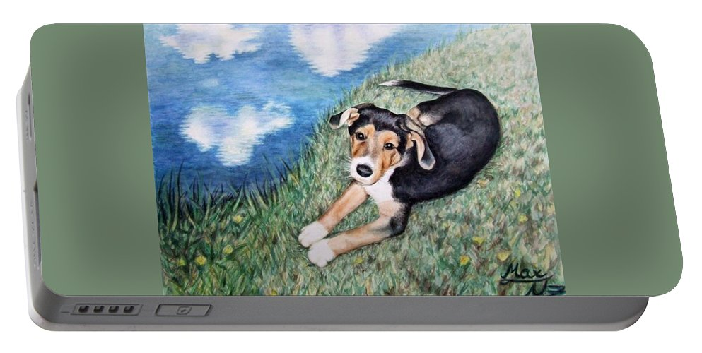 Dog Portable Battery Charger featuring the painting Puppy Max by Nicole Zeug