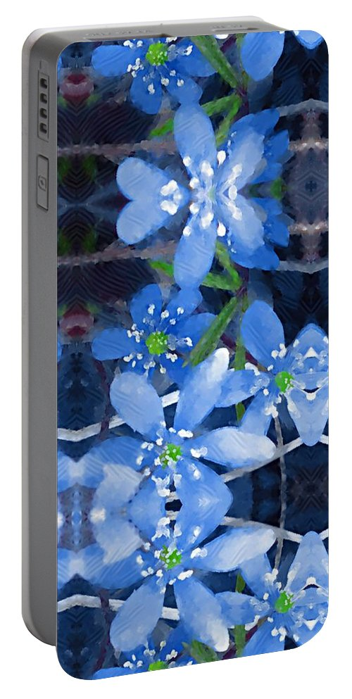 Flowers Portable Battery Charger featuring the mixed media Pure For Life by Pepita Selles