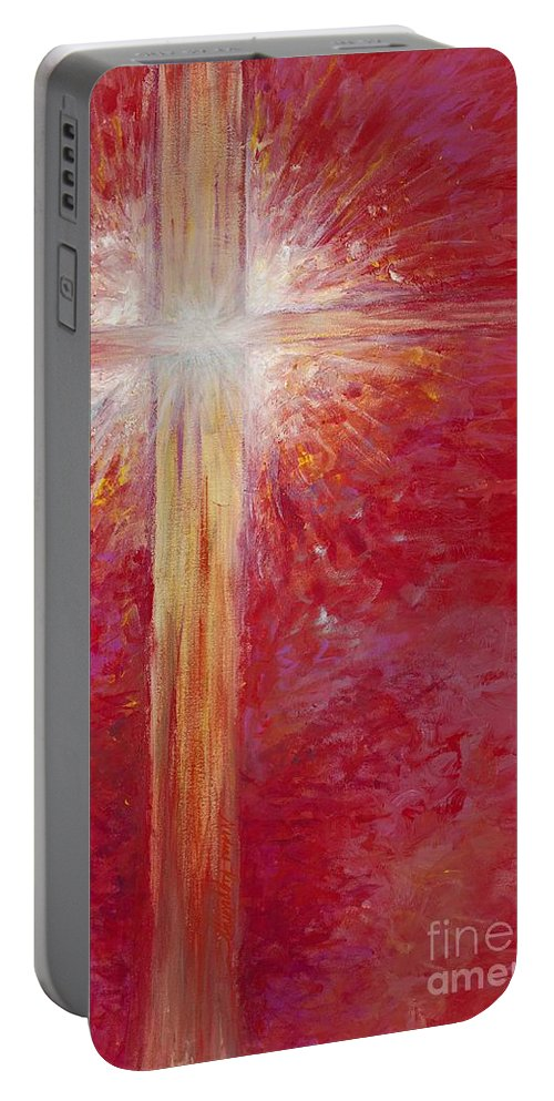 Light Portable Battery Charger featuring the painting Pure Light by Nadine Rippelmeyer