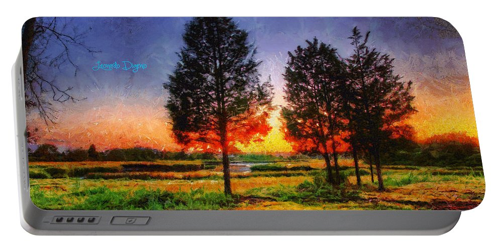 Atmosphere Portable Battery Charger featuring the painting Pure Nature by Leonardo Digenio