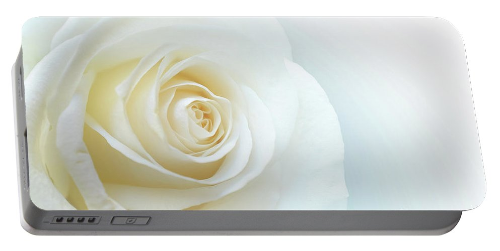 Rose Portable Battery Charger featuring the photograph Pure White Rose by Carlos Caetano