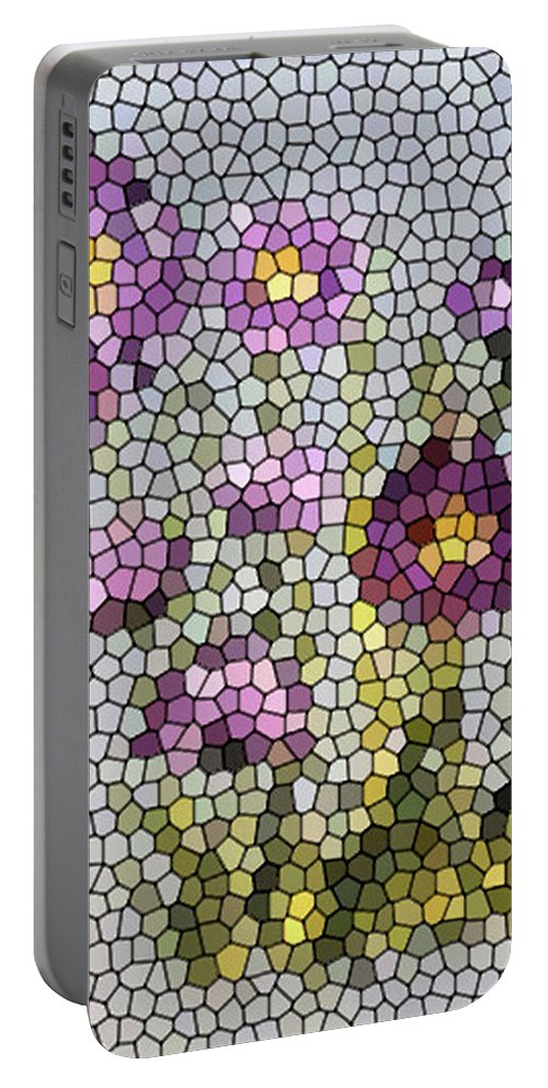 Digital Photo Portable Battery Charger featuring the digital art Purple Asters II by Barbara Griffin