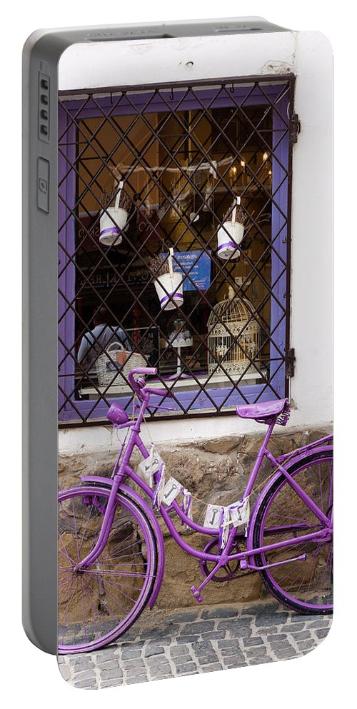 Szentendre Portable Battery Charger featuring the photograph Purple Bicycle by Rae Tucker