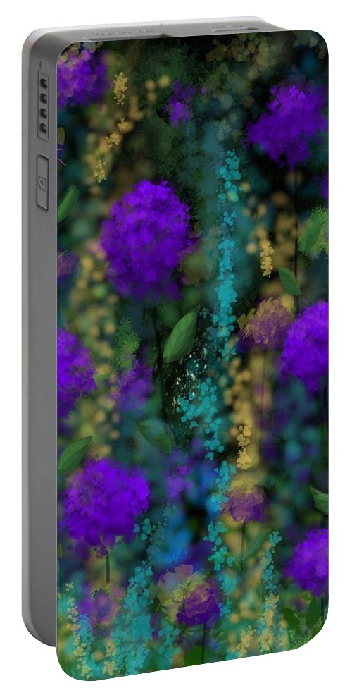 Flowers Portable Battery Charger featuring the digital art Purple Blues by Kathleen Hromada