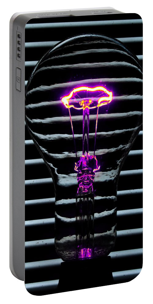 Purple Portable Battery Charger featuring the photograph Purple Bulb by Rob Hawkins