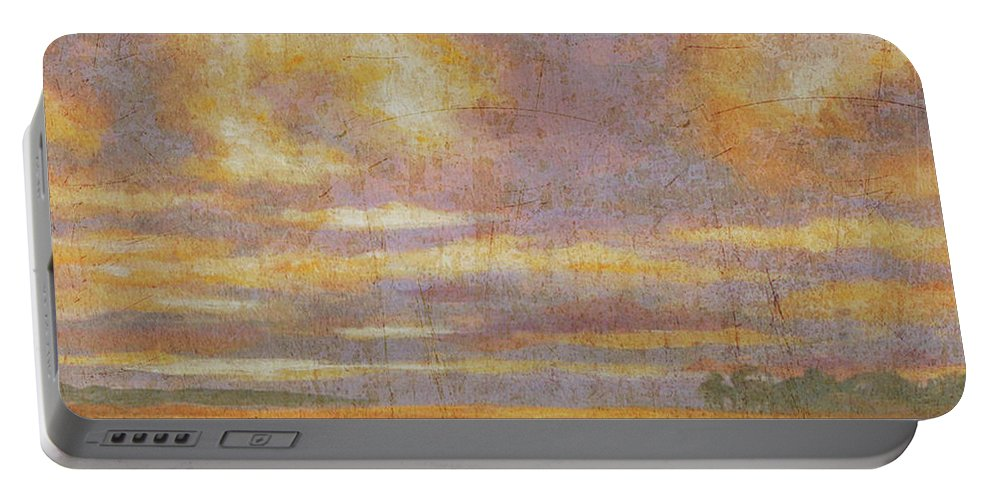 Marsh Portable Battery Charger featuring the painting Purple Clouds On Marsh by Guy Crittenden