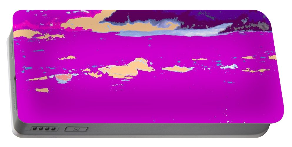 Waves Portable Battery Charger featuring the photograph Purple Crashing Waves by Ian MacDonald