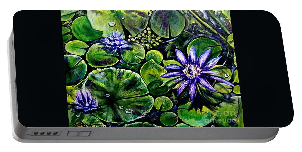 Purple Portable Battery Charger featuring the painting Purple Dawn by Elizabeth Robinette Tyndall