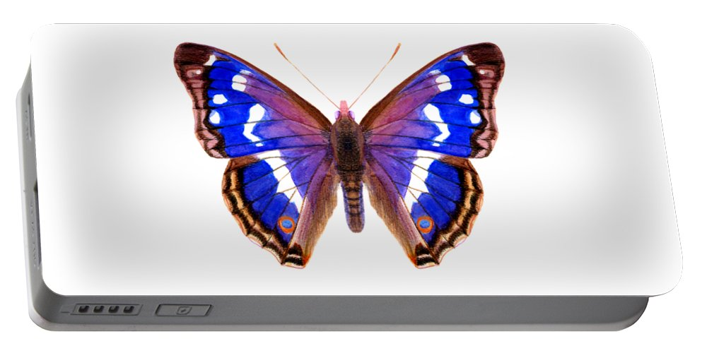 Portable Battery Charger featuring the painting Purple Emperor Butterfly by Alison Langridge