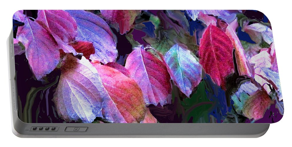 Leaves Portable Battery Charger featuring the photograph Purple Fall Leaves by Ian MacDonald