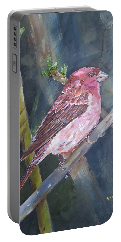 Birds Portable Battery Charger featuring the painting Purple Finch by Sal Cutrara