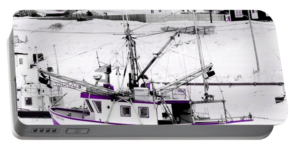 Purple Portable Battery Charger featuring the photograph Purple Fishing Boat by Suzan Roberts-Skeats