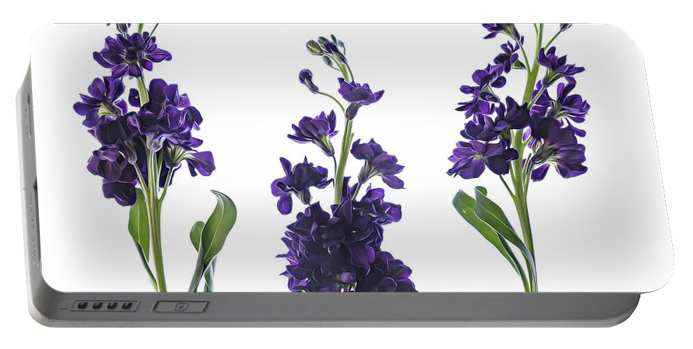 Purple Portable Battery Charger featuring the photograph Purple Floral 2 by Kelly Merlini