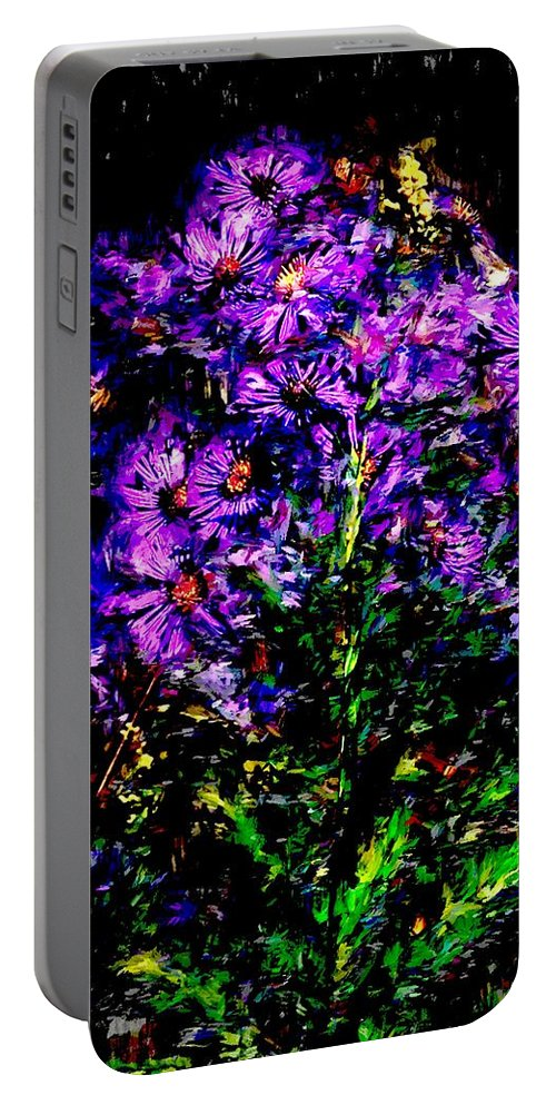 Digital Photograph Portable Battery Charger featuring the photograph Purple Flower Still Life by David Lane