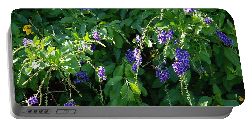 Floral Portable Battery Charger featuring the photograph Purple Hanging Flowers by Rob Hans