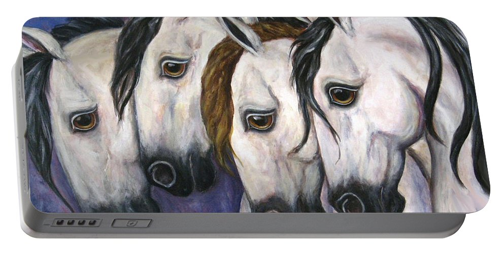 Horse Painting Portable Battery Charger featuring the painting Purple Haze by Frances Gillotti