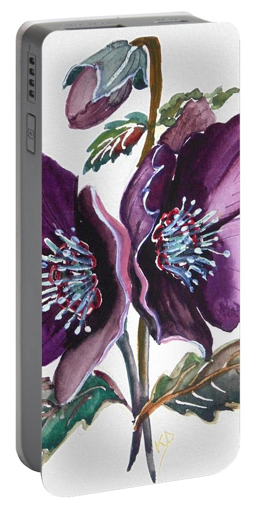 Purple Portable Battery Charger featuring the painting Purple Helleborous by Karin Dawn Kelshall- Best