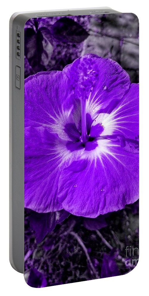 Blue Portable Battery Charger featuring the photograph Purple Hibiscus by Rachel Hannah