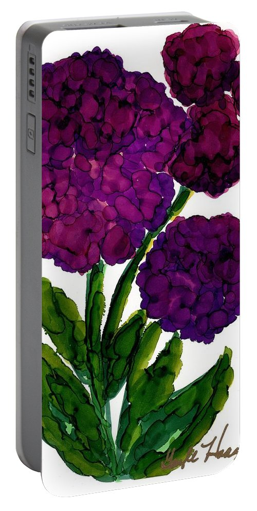 Hydrangea Portable Battery Charger featuring the painting Purple Hydrangea by Gayle Haagensen