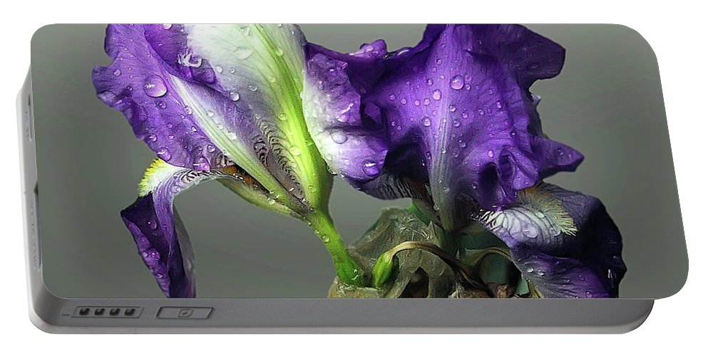 2d Portable Battery Charger featuring the photograph Purple Iris Water Drops by Brian Wallace