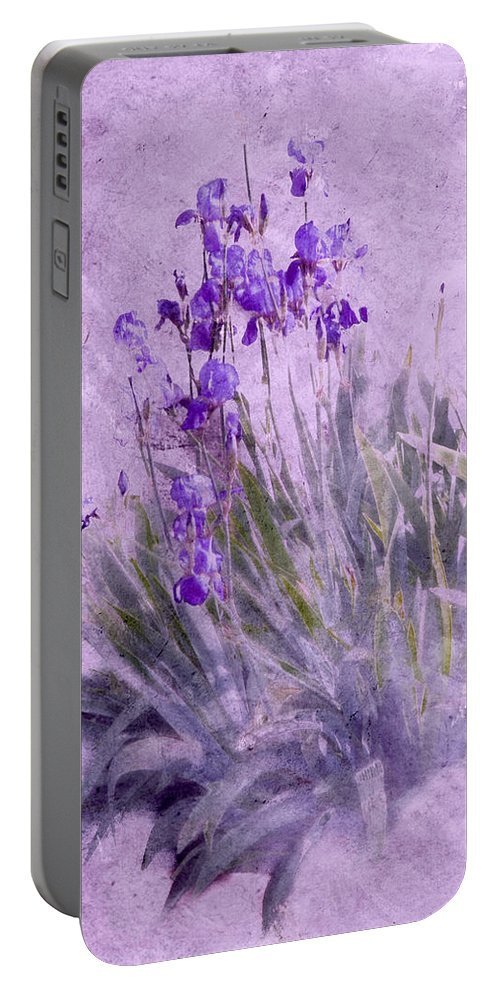Flowers Portable Battery Charger featuring the photograph Purple Irises by Susan Eileen Evans