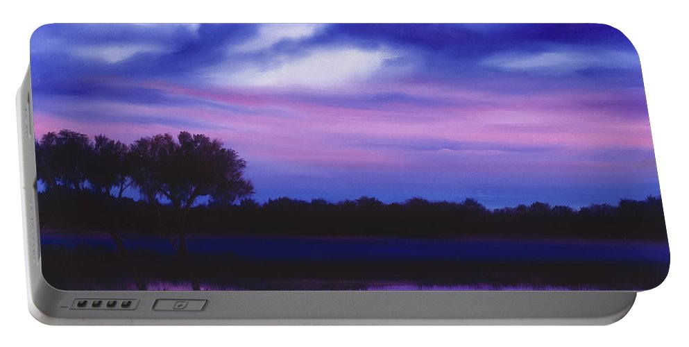 Sunrise Portable Battery Charger featuring the painting Purple Landscape Or Jean's Clearing by James Christopher Hill