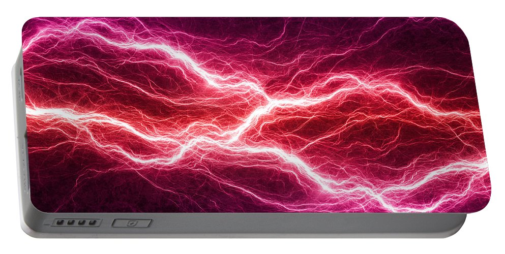 Storm Portable Battery Charger featuring the digital art Purple Lightning by Martin Capek