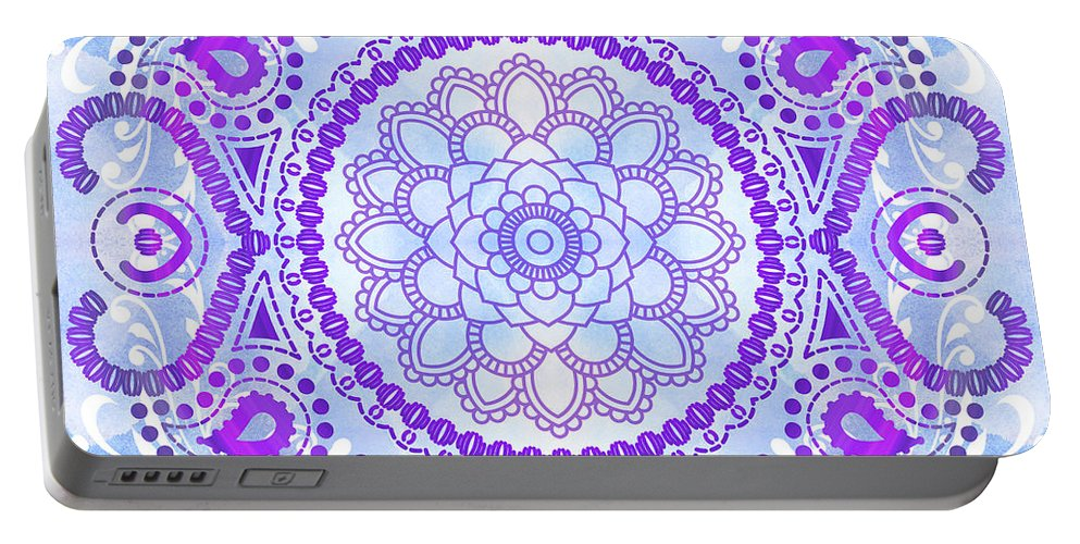 Lotus Portable Battery Charger featuring the digital art Purple Lotus Mandala by Tammy Wetzel