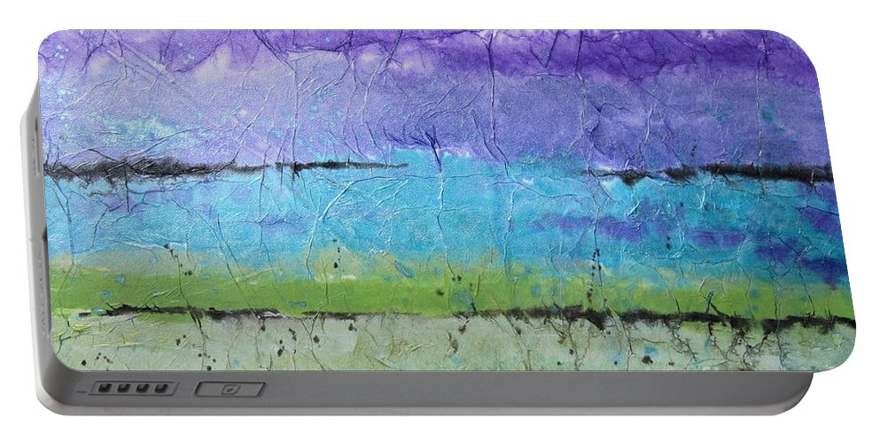 Mountains Portable Battery Charger featuring the painting Purple Mountain's Majesty by Deborah Ronglien