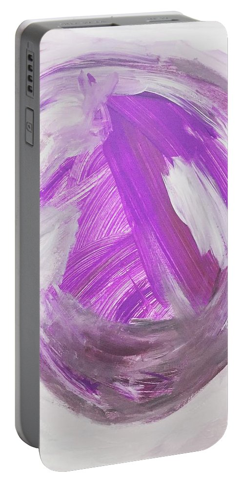 Portable Battery Charger featuring the painting Purple by Nicole Saenz