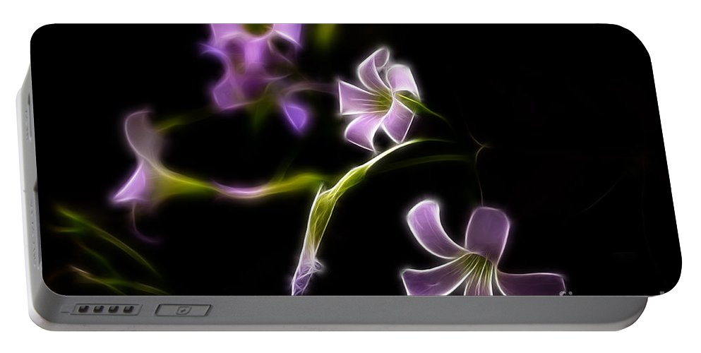 Fractalius Portable Battery Charger featuring the photograph Purple On Black by Deborah Benoit