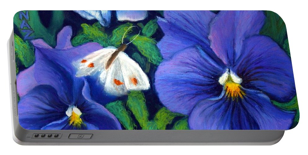 Pansy Portable Battery Charger featuring the painting Purple Pansies And White Moth by Minaz Jantz