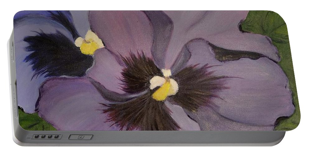 Flower Portable Battery Charger featuring the painting Purple Pansies by Nancy Sisco