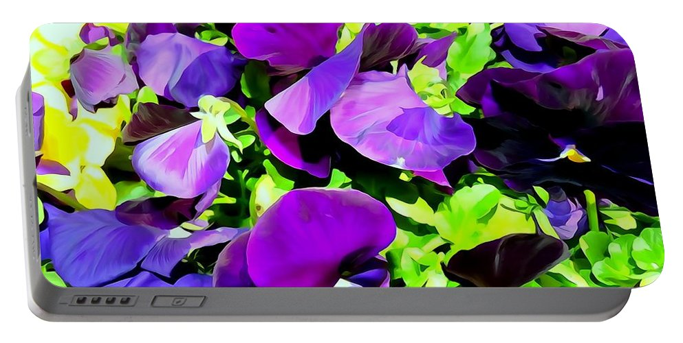 Digital Art Portable Battery Charger featuring the photograph Purple Petals by Ed Weidman