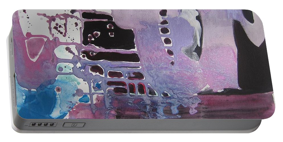 Abstract Paintings Portable Battery Charger featuring the painting Purple Seascape by Seon-Jeong Kim