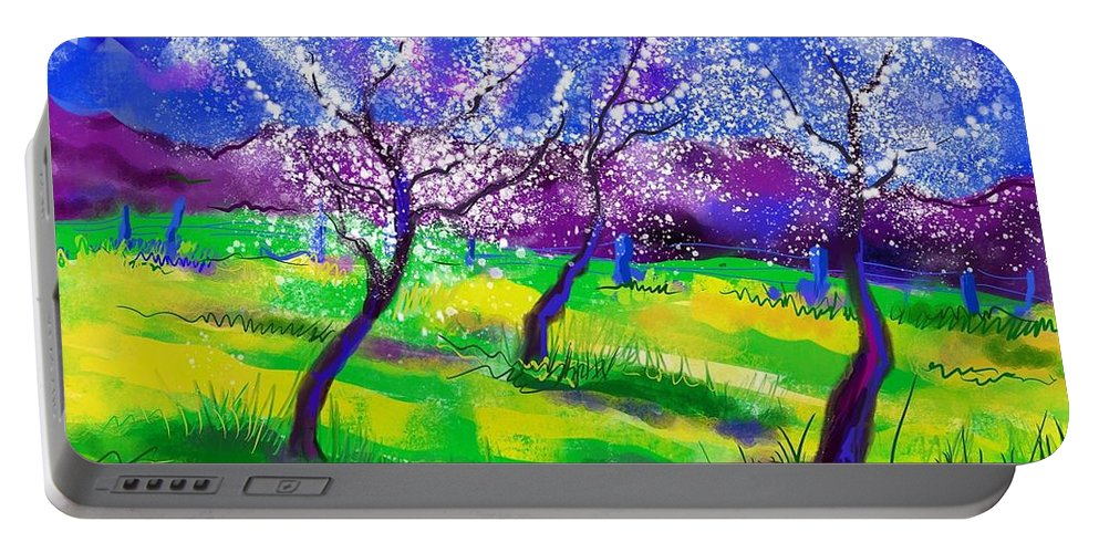 Spring Portable Battery Charger featuring the mixed media Purple Spring by Heidi Creed