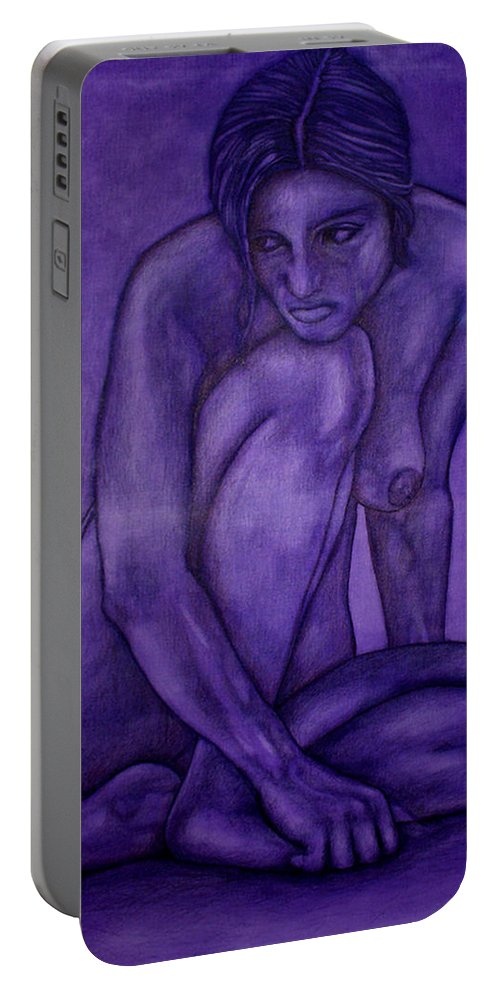 Nude Women Portable Battery Charger featuring the painting Purple by Thomas Valentine