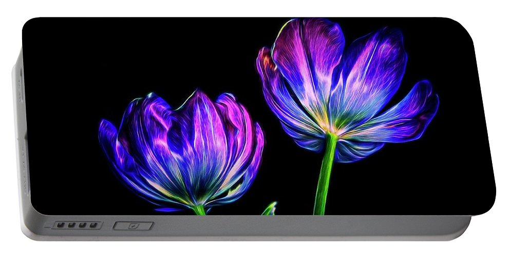 Flowers Portable Battery Charger featuring the photograph Purple Tulips by Phyllis Meinke