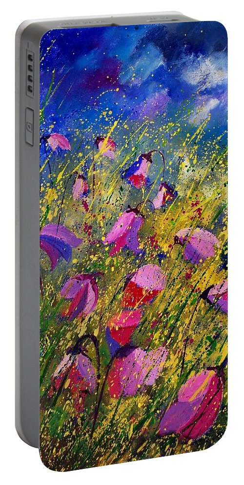 Poppies Portable Battery Charger featuring the painting Purple Wild Flowers by Pol Ledent