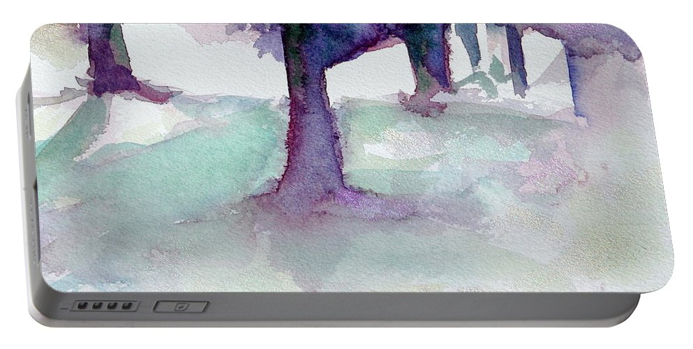 Landscape Portable Battery Charger featuring the painting Purplescape II by Jan Bennicoff