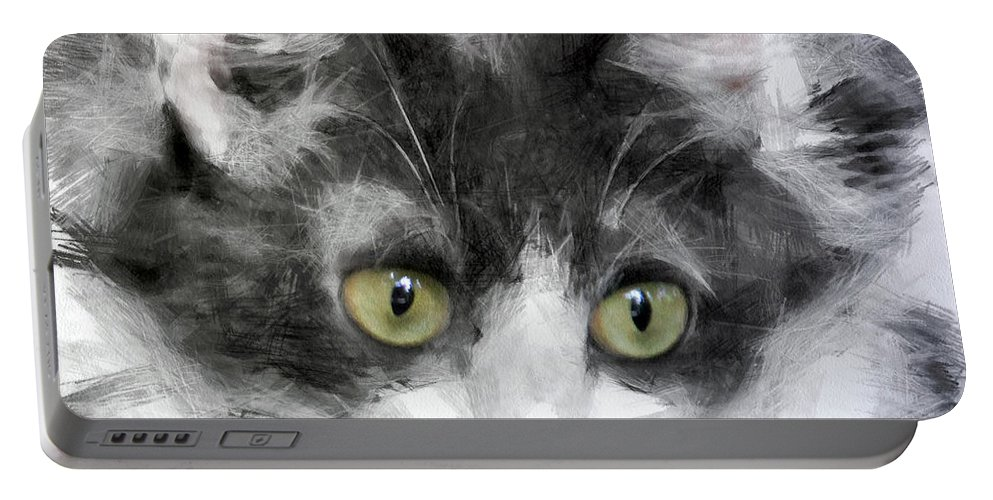 Purring Portable Battery Charger featuring the digital art A Cat With Green Eyes by Sergey Lukashin