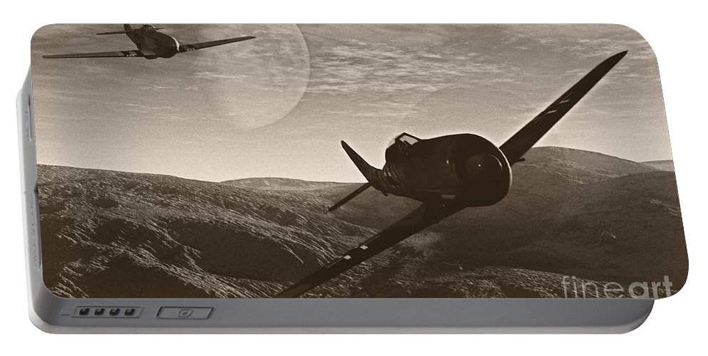 Dogfight Portable Battery Charger featuring the digital art Pursuit Of The Fox by Richard Rizzo