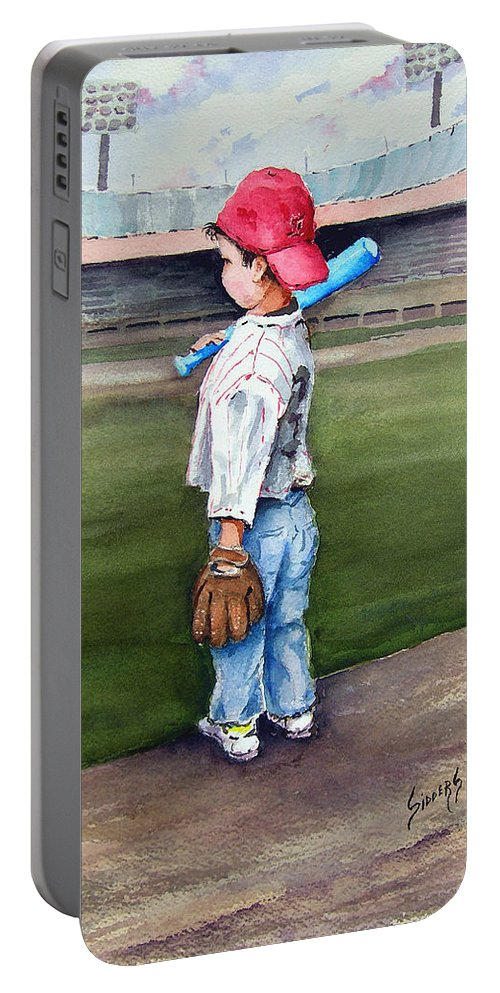Baseball Portable Battery Charger featuring the painting Put Me In Coach by Sam Sidders