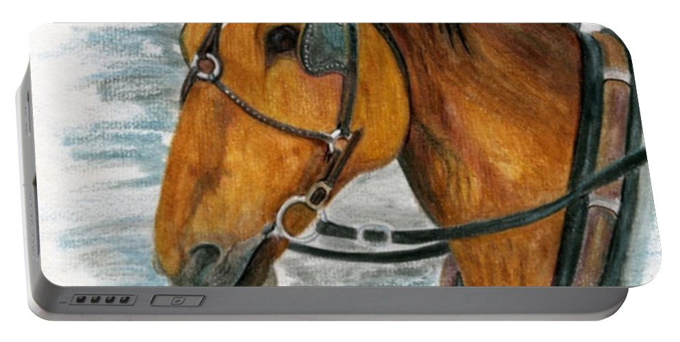 Horse Portable Battery Charger featuring the painting Putting In His Time by Mary Tuomi