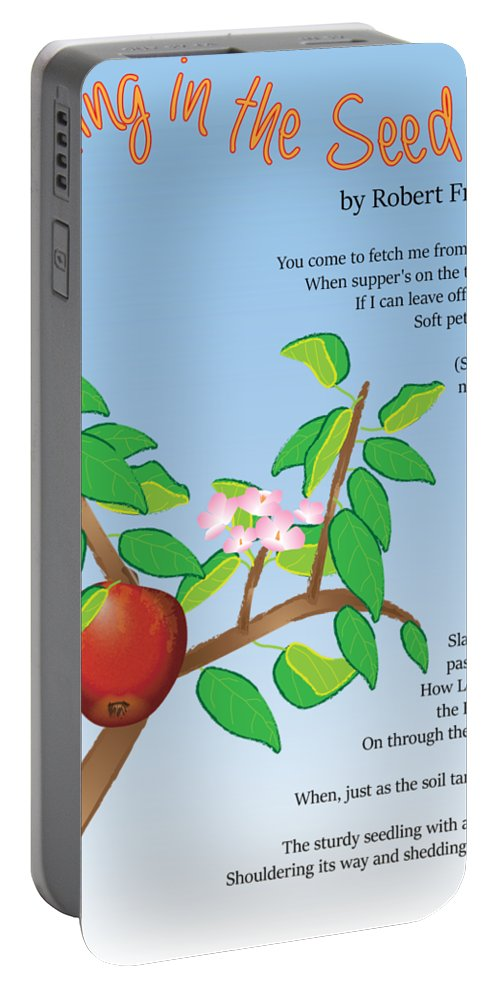 Poem Illustration Portable Battery Charger featuring the digital art Putting In The Seed by Thomasina Durkay